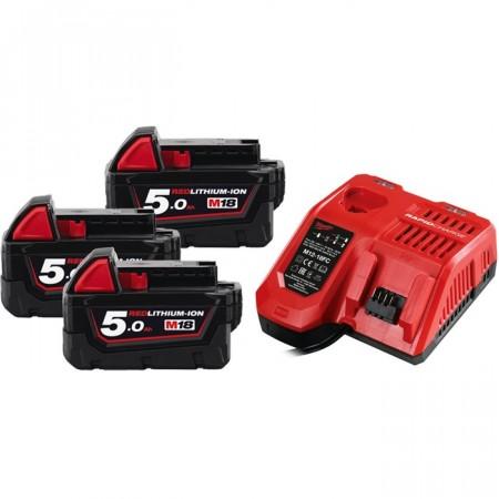 Milwaukee M18 NRG-503 hurtiglader + 3stk Milwaukee 18V 5Ah REDLINE batterier