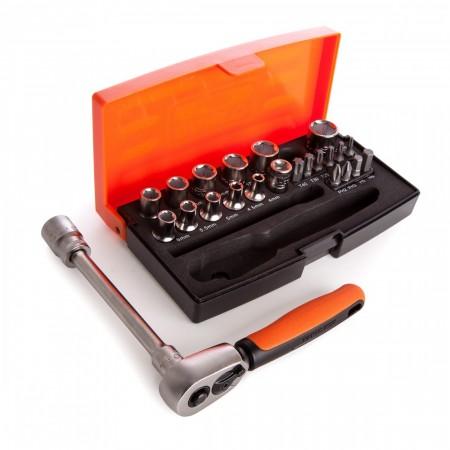 """Bahco SL25 25-delers 1/4"""" skrallesett i praktisk etui"""