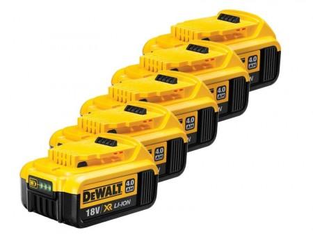 5 x Dewalt DCB182 18V XR li-ion 4Ah Lithium batteri