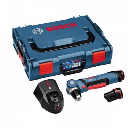 Bosch GWB10.8V-LI li-ion vinkelskrudrill sett, leverti L-Boxx (2 x 2Ah batterier)