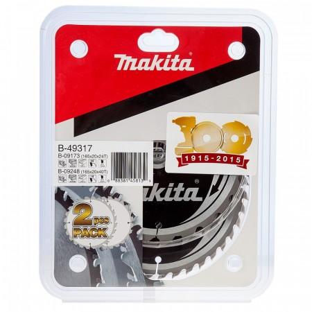 Makita B-49317 TCT sagblad Twin Pack for trevirke 165mm x 20mm x 24 og 40 tenner