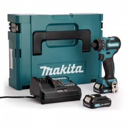 NYTT! Makita DF032DSAJ 10.8V CXT ULTRA kompakt børsteløs skrudrill (2 x 2,0 Ah batterier)
