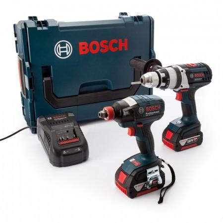 Bosch GSB18VE2Li + GDX18VEC 18V batteripakke i L-Boxx (2 x 5.0Ah batterier)