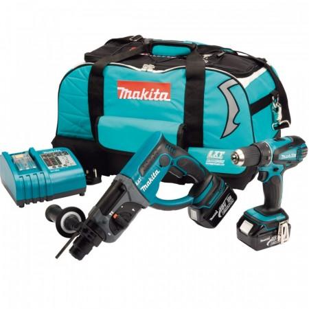 Sjekk prisen! Makita DK1854 18V Duel sett BHR202 SDS+ Hammer og BDF456 Skrudrill (2 x 3Ah batt)