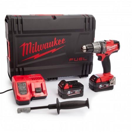 Kraftpakke! Milwaukee M18 Fuel FPD-502X combi drillsett (2 x 5.0Ah batterier)