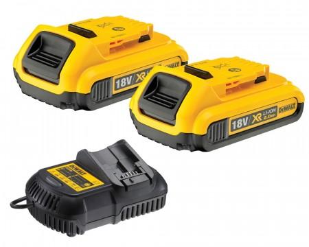Sjekk prisen! Dewalt DCB105 hurtiglader og 2 x 2Ah DCB183 lithium batterier