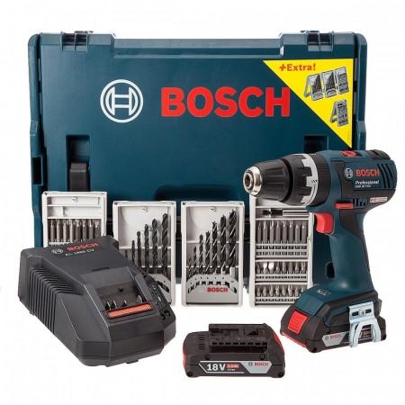 Bosch GSB18VEC b�rstel�s18V li-ion Combi drill med tilbeh�r (2 x 2Ah batterier)