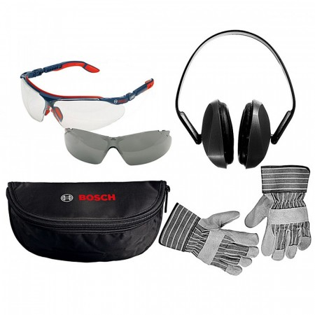 Verneutstyrspakke inkludert hørselvern, vernebriller og hansker