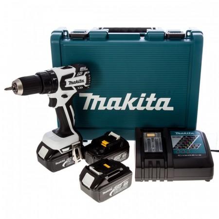 Sjekk prisen! Makita DHP459RF3W 18V b�rstel�s drillsettt (3 x 3Ah batt)