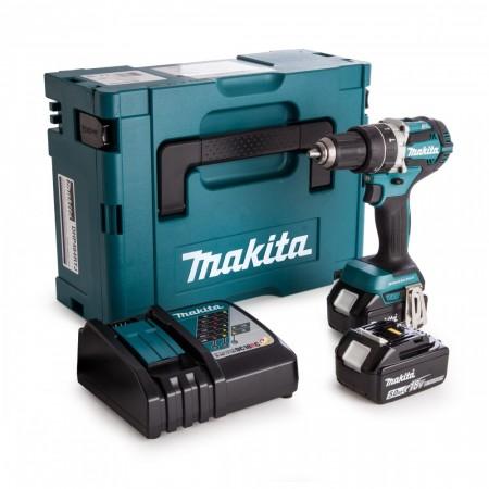 Anbefales! Makita DHP484RTJ 18V børseløs combi drillsett (2x5Ah batt)