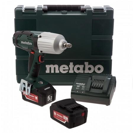 Metabo SSW18LTX 600 18V høyeffekts muttertrekker sett (2 x 5,2 Ah Batterier)