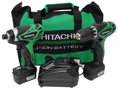 Hitachi KC10DFL 10,8V Skrudrill og slagtrekker drillsett(2 x 1,5 Ah batterier)