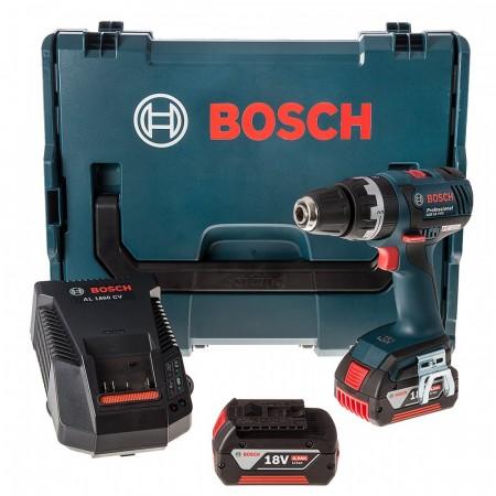 Bosch GSB18VEC 18V li-ion Børsteløs combi drillsett (2 x 4,0 Ah batterier)