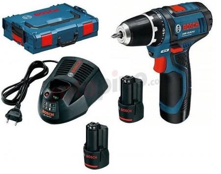 Bosch GSR10.8-2-LI 10.8V drillsett (2x2Ah batt) levert i L-boxx