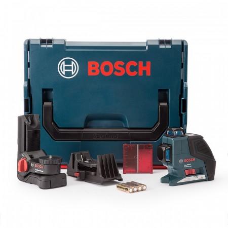 Bosch GLL380PBMCC 3 plans krysslinjelaseren med veggfeste, tak klemme og L-BOXX transport koffert