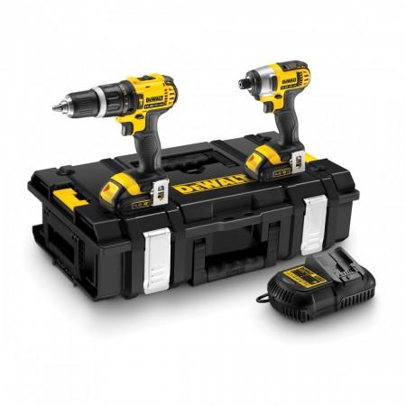 Sjekk prisen! Dewalt DCK235C2 2-delers 14,4V Combi drill og slagtrekker (2 x 1.5Ah batterier)
