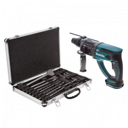 Makita DHR202Z 18V SDS+ borhammer + 17-delers bor- og meiselsett