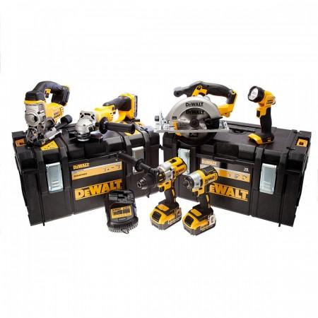 Sjekk prisen! Dewalt DCK694P3 18V Børsteløs 6-delers sett (3 x 5.0Ah batterier), lader og 2 x DS300 kofferter