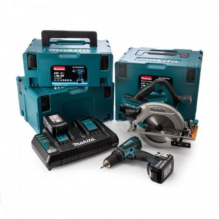 Makita DLX2084PMJ 18V 2-delers batteriverktøysett (4 x 4Ah batt) med 3 x Makpac kofferter