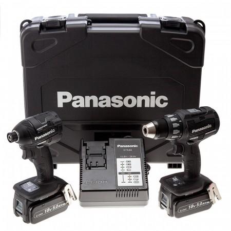 Panasonic EYC215LJ2G31 18V 2-delers combi sett med skrudrill / slagtrekker (2 x 5.0Ah batterier)
