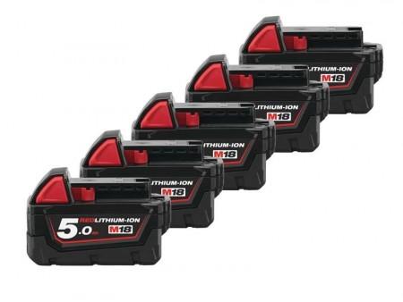 Milwaukee 5 x M18 5,0Ah lithium batteri pakke