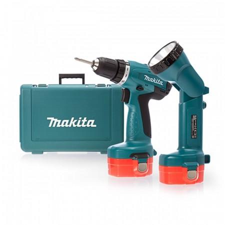 Makita 6281DWPLE 14.4V Skrudrill (2 x 1.3AH Ni-Cad batterier + lommelykt)