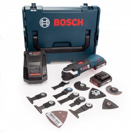 Bosch GOP 18V-28 Børsteløs, professional batteridrevet multikutter med mye tilbehør (2 x 2,0 Ah batterier)
