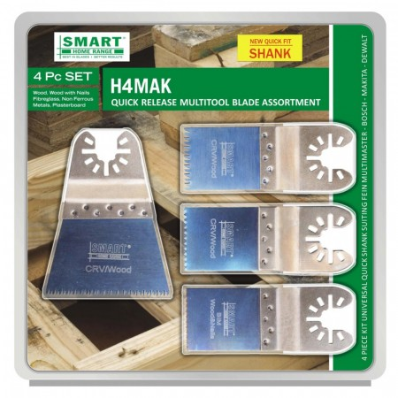 Smart H4MAK 4-delers multikutter blad sett med quick release bytte