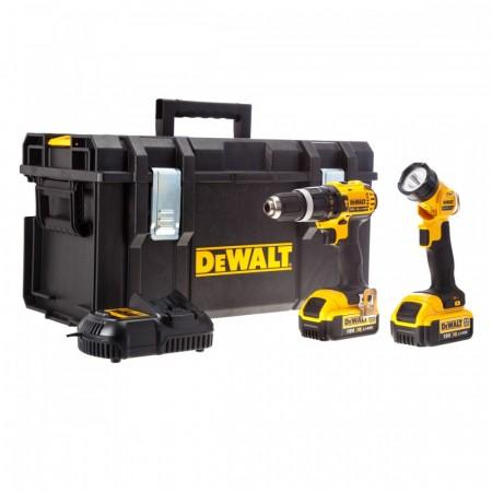Dewalt DCD785 18V 2-hasighets combi drill + DCL040 stavlykt (2 x 4Ah batterier)