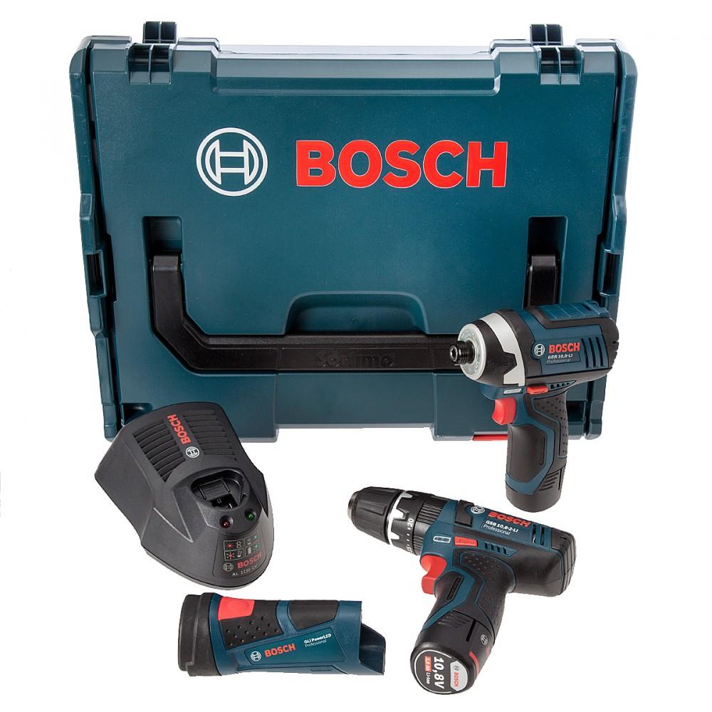 bosch 3 delers 10 8v pakkesett gsb combi drill gdr slagtrekker gli lykt lader l boxx 2 x 2. Black Bedroom Furniture Sets. Home Design Ideas