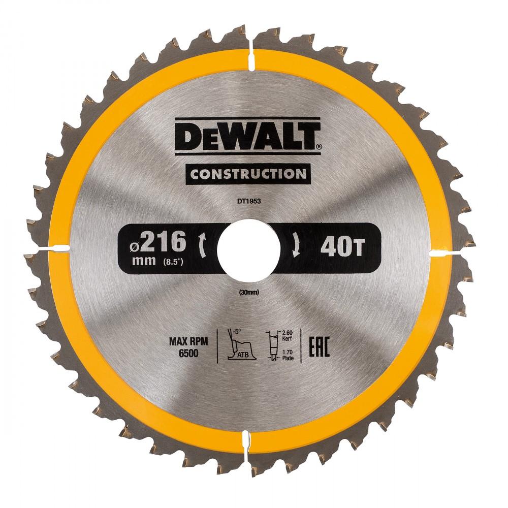 901d36cfa Dewalt DT1953 Konstruksjon sirkelsagblad 216mm x 30mm x 40 Tenner