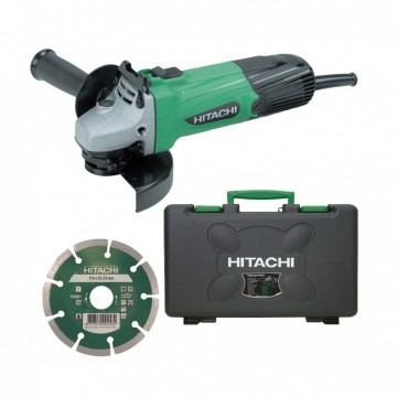 "Hitachi G12SS/CD 115mm 4-1/2"" vinkelsliper med koffert & diamant Blad"