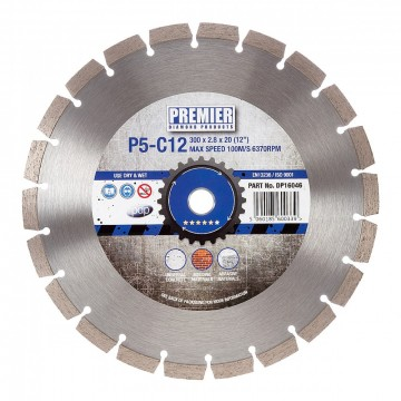 PDP DP16046 Diamond Blade P5-C12 300 x 20mm 5 stjerner multi for bygnings materialler & betong