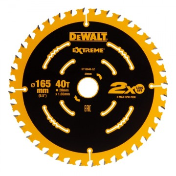 Dewalt DT10640 165mm x 20mm x 40T sagblad for høy finish