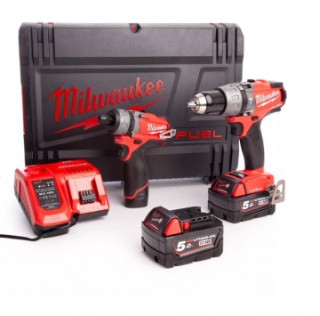 Milwaukee M18ONEPP2O-523X M18 ONE KEY Combi + M12 FUEL skrutrekker,Twin Pack (2 x 5,0 Ah + 1 x 2,0 Ah batterier)